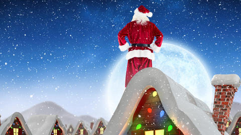 Santa clause on a roof in winter scenery combined with falling snow Animation