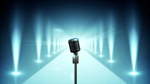 Microphone on blue stage with lights Video Animation