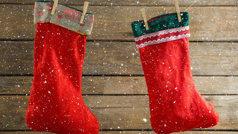 Falling snow with Christmas stockings decoration Animation
