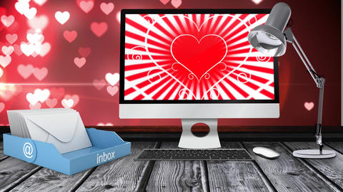PC screen showing hearts and love icons Animation