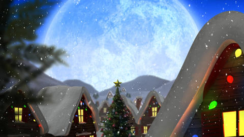 Winter scenery with full moon, houses and falling snow Animation