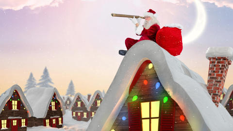Santa clause on rooftop of a decorated house combined with falling snow Animation