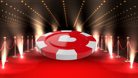 Poker Chip on red carpet video Animation