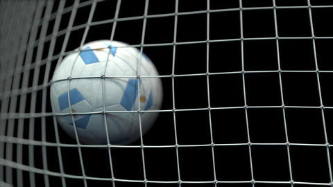 Ball with flags of Argentina hits goal. 3D animation Live Action