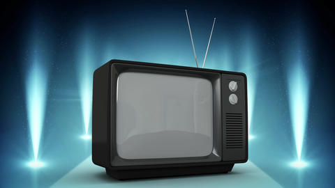 TV on blue stage Background video Animation