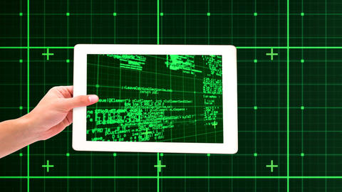 Tablet showing green coding Animation