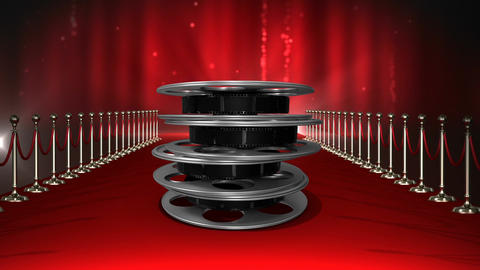 Movie film reels with flashing lights and red carpet Animation