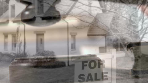 House for sale against falling gavel Animation
