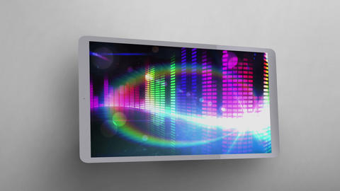 Tablet showing colored music bars Video Animation