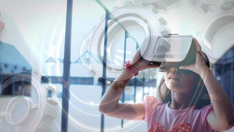 Girl using VR Video Animation