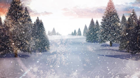 Winter scenery and falling snow Animation