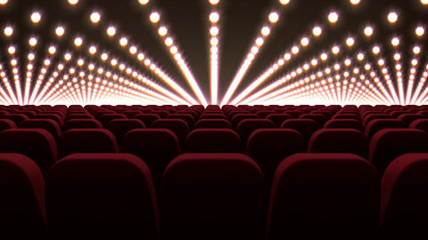 Cinema chairs in front of red lights Animation