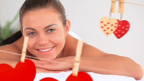 Portrait of a beautiful women at spa with hearts for valentine day Animation