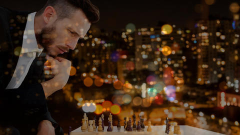 Businessman playing chess video Animation