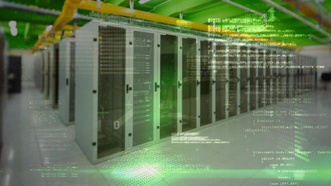 Server room with digital code Animation