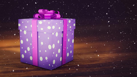 Falling snow with Christmas gift Animation