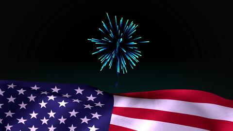Digital animation of fireworks on the skyline at night 4k Animation