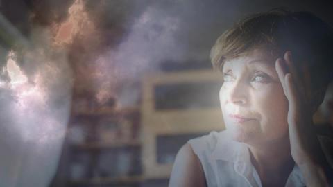 Digital animation of worried woman 4k Animation