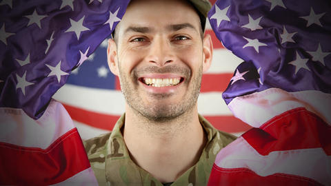 Digital animation showing proud American soldier smiling at camera 4k Animation