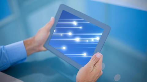 Digital generated of businessman holding digital tablet 4k Animation