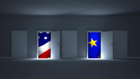 Digital animation showing American and European flag through the open doors 4k Animation