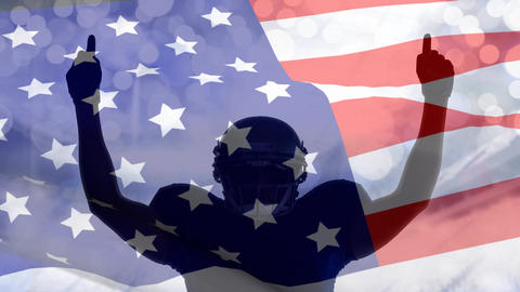 Digital animation of victorious rugby player with hands raised against the American flag 4k Animation