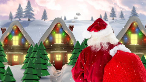 Santa clause in front of decorated houses in winter scenery combined with falling snow Animation
