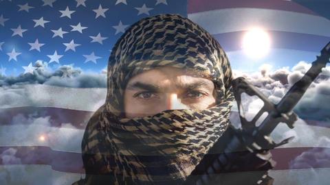 Digital animation of terrorist holding rifle against swaying American flag 4k Animation