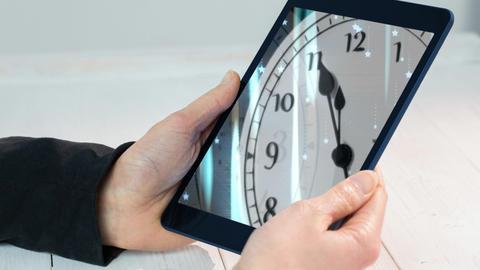 Digital animation of businessman holding digital tablet 4k Animation