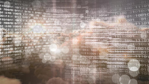 Digital animation of binary technology code against bokeh 4k Animation