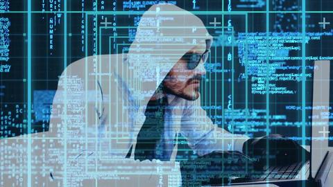 Digital Animation of hacker hacker hacking the laptop 4K Animation