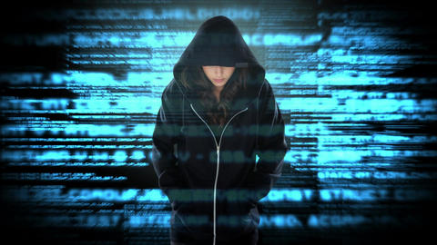 Digital animation of hacker standing with hands in pocket 4k Animation