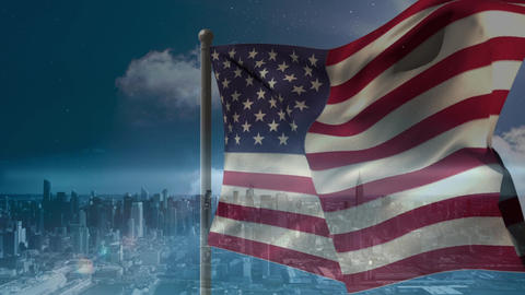 Digital animation of American flag swaying in the wind against the city 4k Animation