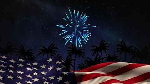 Digital animation of fireworks display at night 4k Animation