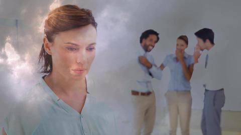 Digital animation of teammates bulling woman in office 4k Animation