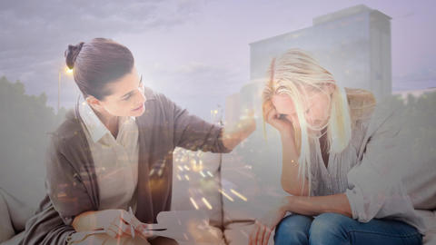 Digital animation of counselor consoling depressed woman 4k Animation