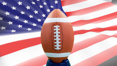 Digital animation of rugby ball against the American Flag 4k Animation