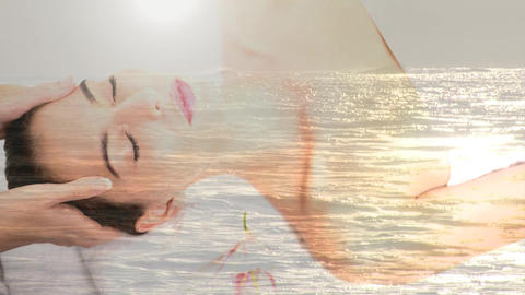 Woman relaxing at Spa and ocean Animation