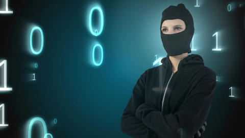 Digital animation of hacker standing with arms crossed 4k Animation