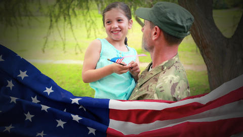 Conceptual digital animation showing a child interacting with American soldier on home returning 4k Animation