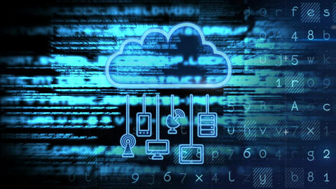 Conceptual digital animation showing cloud computing concept 4k Animation