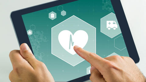 Digital animation of heart beat and ambulance in digital tablet 4k Animation