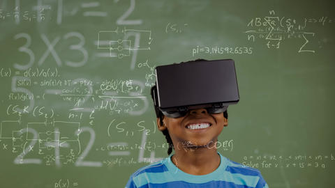 Child using VR in class Animation