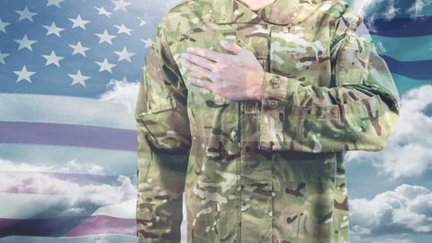 American soldier taking a pledge and American flag swaying in the background 4k Animation