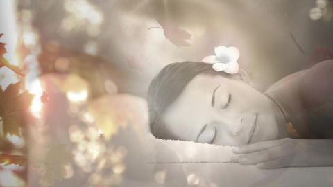 Woman at the spa with maple leaves Animation