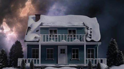 House with snow video on stormy day Animation
