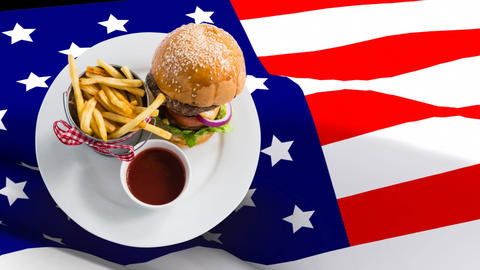 Food Plate against united states flag Animation