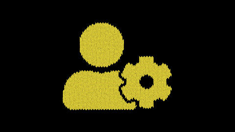 Symbol user cog is knitted from a woolen thread. Knit like a sweater Animation