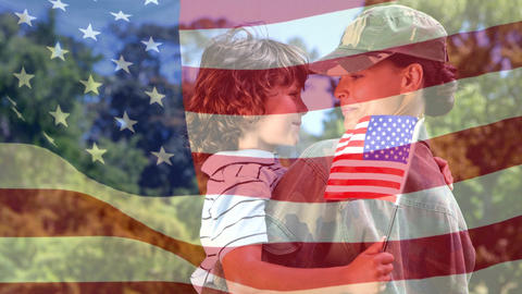 Conceptual digital animation showing a American soldier embracing her child on home returning 4k Animation
