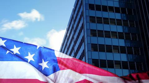 American flag against city Animation